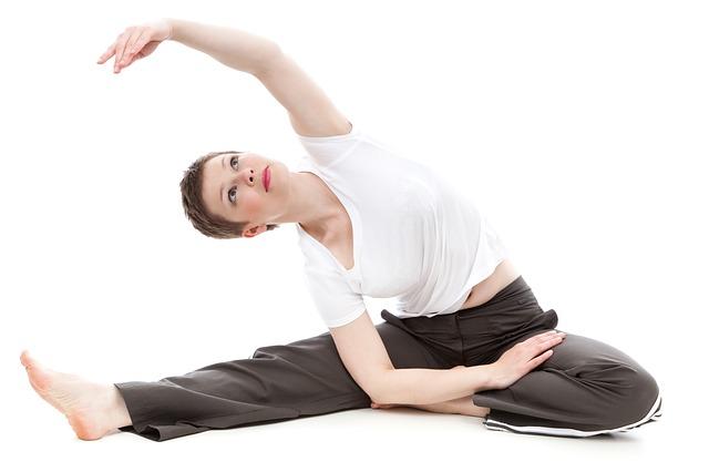 žena, cvičení, protahování