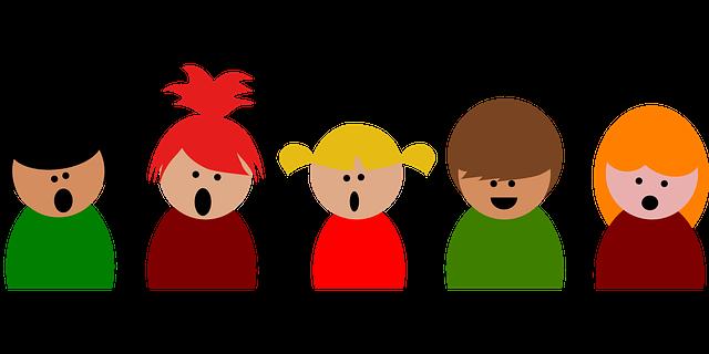 Ilustrace-děti stojící v řadě